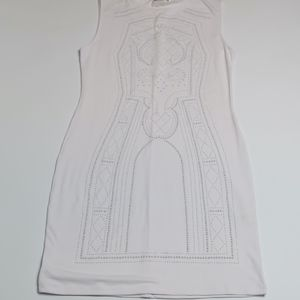 Fitted white body con dress Sz: L